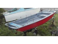Dory type Boat Dinghy for Fishing with Trailer and 2 Seagull Engines