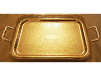 Queen Anne Silver Plated Tableware- Oblong Gallery Tray-Handles-Legs