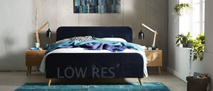 Bosco Euro-style Fabric Bed Frame Double/Queen Blue Springvale Greater Dandenong Preview