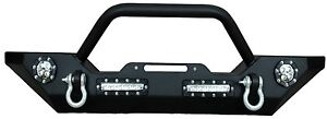07-14 Jeep Wrangler Front Bumper w/ LED Lights, Winch Mount Plate, D Rings JK