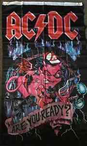 wow ACDC Flag Are You Ready AC/ DC Textile Material 5FT By 3FT Kangaroo Flat Bendigo City Preview