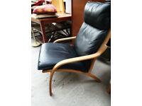 Vintage retro Danish black leather bentwood mid century armchair lounge chair