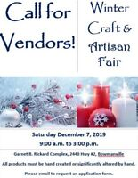 Vendor Call - Winter Craft and Artisan Fair!