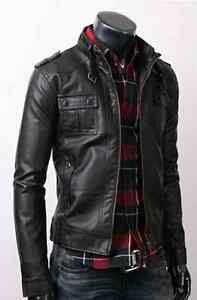 Fine-Quality-Strap-Pocket-Slim-Fit-Men-Leather-Jacket-Black