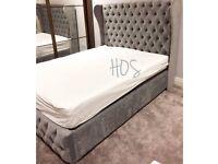 Winged Silver Velvet 4ft6 Double Bed