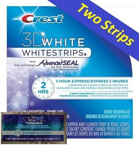 Crest 3D White 2 Hour Express Whitestrips Advanced Seal. Teeth Dental 2 Strips.