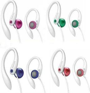 PHILIPS-ULTRA-COMFORTABLE-GYM-EARHOOK-HEADPHONES-PINK-RED-GREEN-PURPLE