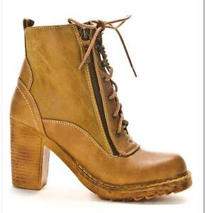 Lace-Up Heeled Booties in Camel