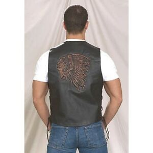 Mens Native American Retro Brown Leather Vest