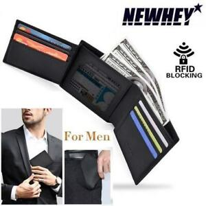 NEW SLIM LEATHER MENS WALLET BLACK 230585294 NEWAY TRIFOLD RFID BLOCKING CREDIT CARD CASE AND MONEY ORGANIZER