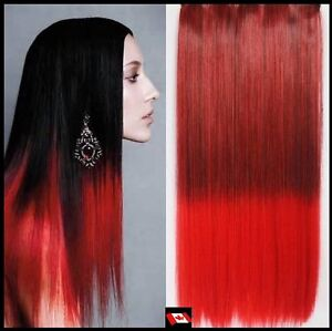 "Clip in hair extension, Straight hair, 60 cm, 24"", 100g,  RED"