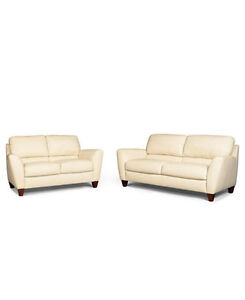 beige genuine leather couch and loveseat delivery included