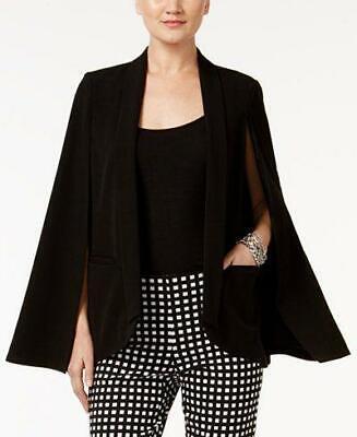 Alfani Women's Black Cape Style Faux Pocket Open Front Blazer Size XS MSRP $89