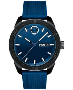 Movado Bold Blue Dial Blue Rubber Men's Watch 3600459 New
