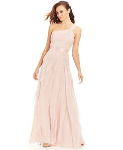 Beautiful Adrianna Papell Blush Pink Gown Dress One Shoulder