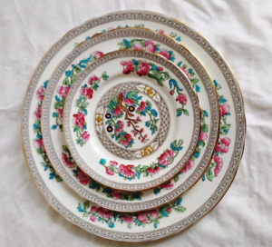 Aynsley Bone China Indian Tree trio plates