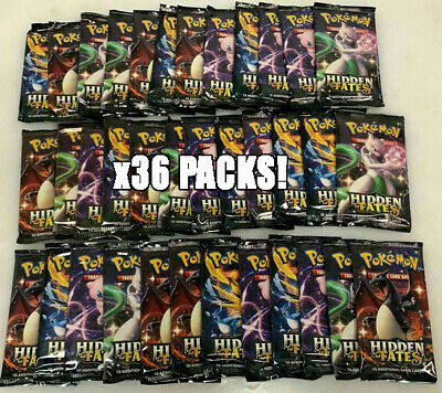 Pokemon Hidden Fates Lot of 36 Factory Sealed Booster Packs 1 Box Worth