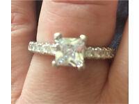 Stunning 4.1ct white Sapphire with Austrian crystal stone surround