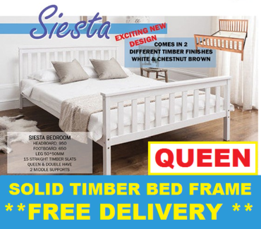 Brand New QUEEN Size Wooden Bed Frame FREE DELIVERY