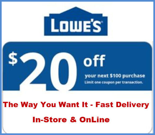 One Lowes $20 Off $100 Instore And Online1coupon---fast Delivery---- Exp 5 Days