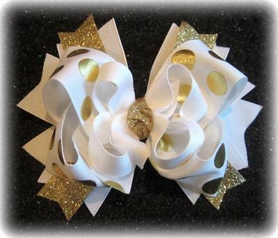 Girls Boutique Hair Bows Gold Glitter Stacked layered Hairbow Baby Headband Clip