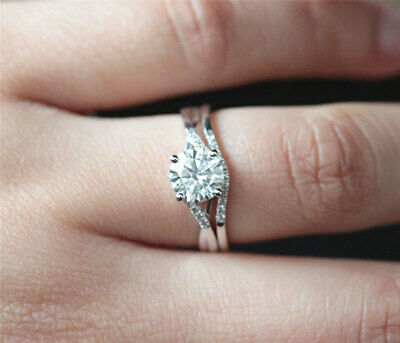 simple engagement ring set for women 1.5ct round cut diamond