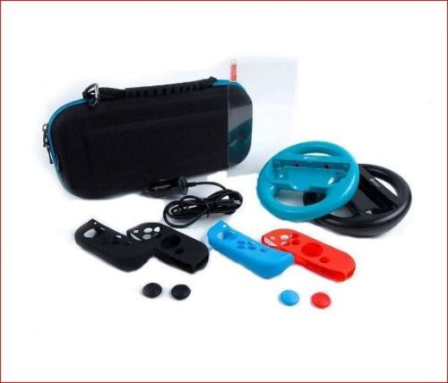Blue Accessories Kit For Nintendo Switch Carrying Case Joy-Con Steering Wheel