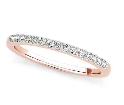 - 14K Rose Gold Diamond Diamond Anniversary Band Wedding Ring .15ct Size 7 stack
