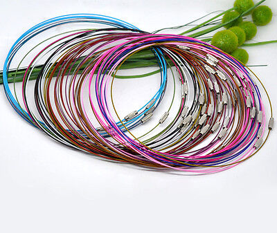 """10 Memory Wire Chokers Mixed Colours 18"""" Necklaces Chains Wire J12601M"""