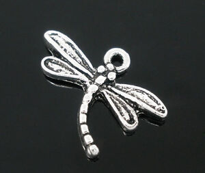 20 Dragonfly Charms Silver Tone May Fly Insect  J00047
