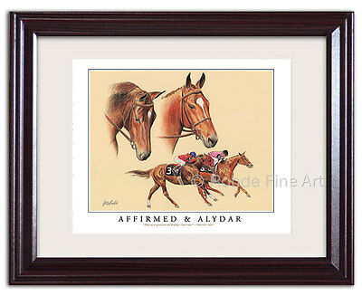 AFFIRMED ALYDAR - FRAMED HORSE RACING ART Triple Crown Kentucky Derby racehorses for sale  Shipping to Canada