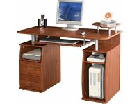 Computer Desk with 2 Drawers and 4 Shelves