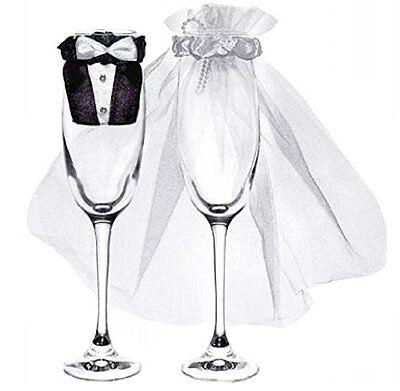 Glas-Kleidung Brautpaar für Champagnergläser, 1 Paar Hochzeit