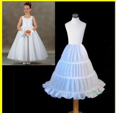 Age 2-14 Flower Girl 3-Hoop A-Line Crinoline Petticoat Children Kid White