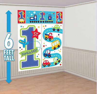 Boy 1st Happy Birthday Scene Setter first Party wall decoration car truck plane