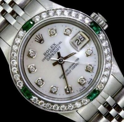 Rolex Ladies Datejust Watch Oyster Stainless Jubilee Diamond Emerald Bezel Dial