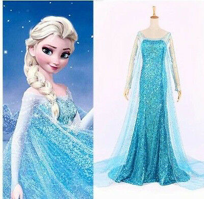 Damen Eiskönigin Elsa Prinzessin Kleid Cosplay Kostüm Karneval Party