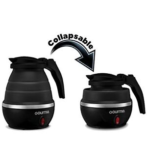 Gourmia GK360B Travel Foldable Electric Kettle - Silicone, Collapsible - Black