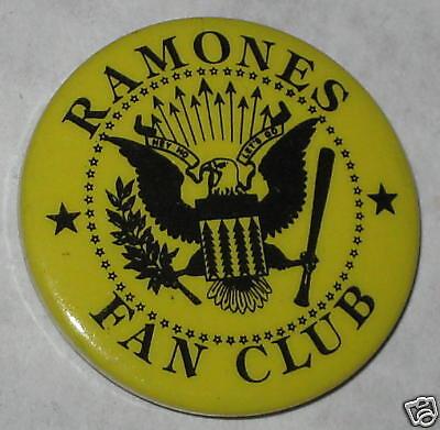 "1980's The Ramones Fan Club Pin 1.25"""