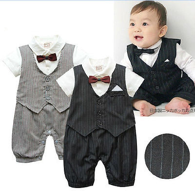 Baby Boy Wedding Christening Formal Party Suit Outfit Clothes 12-18 month(gray)