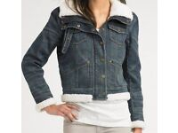 Juicy Couture Sherpa Denim Jacket (Size Small)