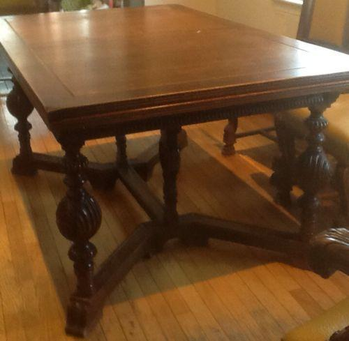 Antique walnut dining table ebay for Antique dining room tables