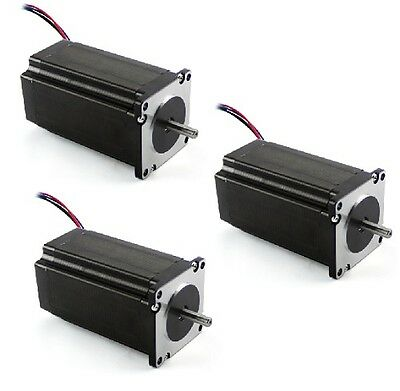 3 Pcs New Nema 23 Dual Shaft Stepper Motor 570 Oz-in 14 Shaft