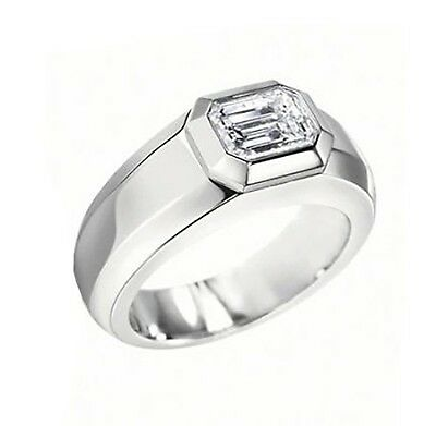 2CT 14K GOLD MENS DIAMOND WEDDING RING BAND GIA H/VS2