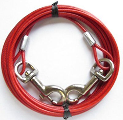 Dog Tie Out Run Cable Long Leash Yard Stake Pet Restraint Leashes Runner Chain