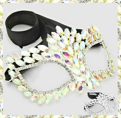 Clear Crystal Rhinestone Face Eye Mask Masquerade Cocktail Ribbon Costume Party - Clear Face Mask Costume