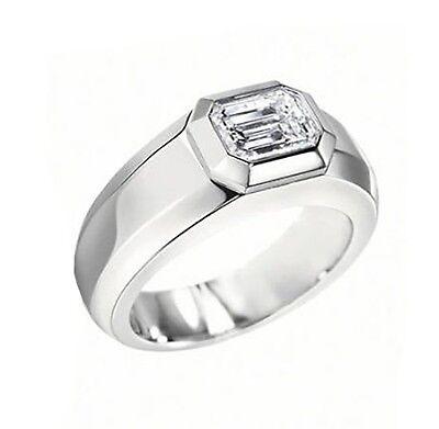 1.20CT MENS EMERALD DIAMOND WEDDING RING 18K GIA F/VVS2