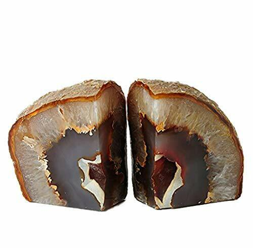 Agate Bookends for Shelf Decorative Geode Book Ends for 2-3LBS Nature Brown