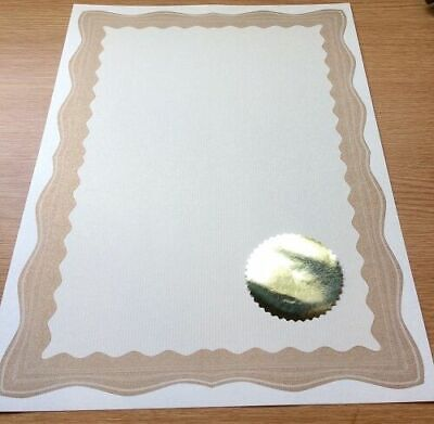 30 A4 Paper Plain Certificates With Gold Border 30 Gold Embossed Virtus Seals