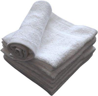 6 new white premium best wash cloths towel 13x13 dobby border 100% cotton